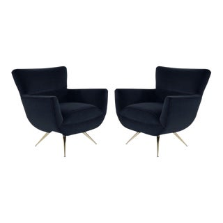 Mid-Century Modern Swivel Chairs by Henry Glass in Navy Velvet - a Pair For Sale