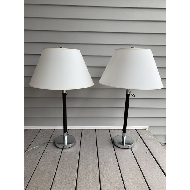 1990s Ralph Lauren Stitched Leather Linear Chrome Lamps - a Pair For Sale - Image 13 of 13