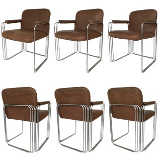 Set of Six Chrome and Leather Dining Chairs Attributed to Pace Collection For Sale