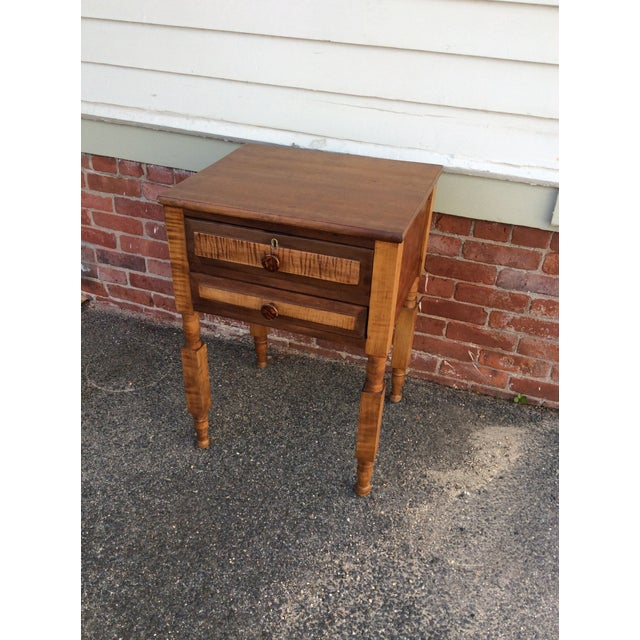 Americana Antique Tiger Maple and Cherry 2 Drawer Stand For Sale - Image 3 of 9