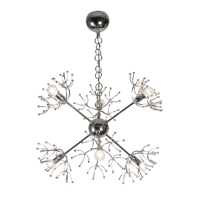 Italian 1960s Chrome Starburst Chandelier - Image 4 of 9