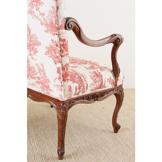 White Pair of French Provincial Style Walnut Toile Fauteuil Armchairs For Sale - Image 8 of 13