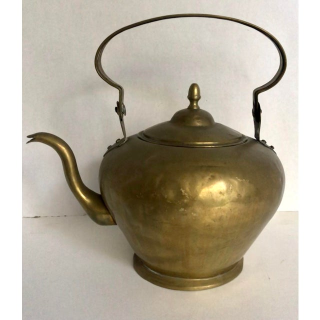 Metal Antique Brass Handled Teapot For Sale - Image 7 of 7