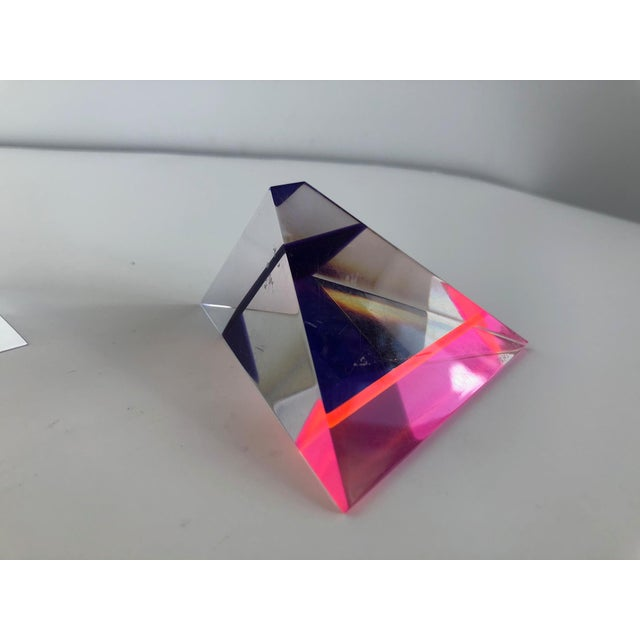Pair of 1980's Multi -Colored Acrylic 3-D Trapezoids - Signed Ashley Style of Vasa For Sale - Image 9 of 13