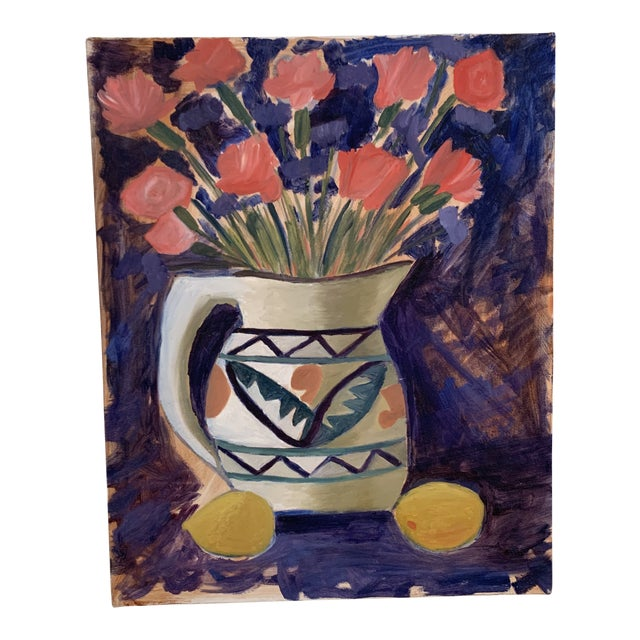 Vintage Vivid Floral Still Life Canvas Painting For Sale