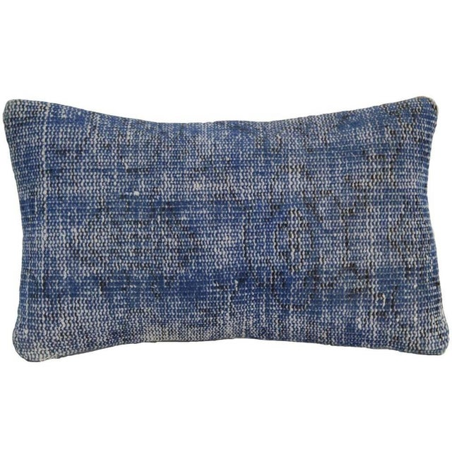 Vintage Blue Overdyed Rug Pillowcase - Turkish Hand Knotted Pillow For Sale