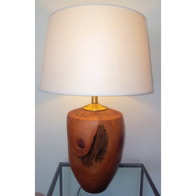 Mid-Century Modern Heavy Hand Turned Wooden Lamp - Image 2 of 8
