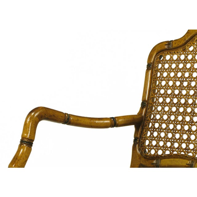 Bamboo-Form Cabriole Leg Cane Back Armchair For Sale - Image 9 of 9