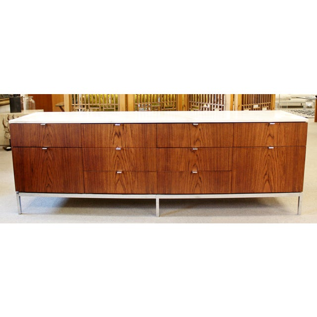 Contemporary Mid-Century Modern Florence Knoll for Knoll Int. Rosewood Marble Credenza, 1960s For Sale - Image 3 of 12