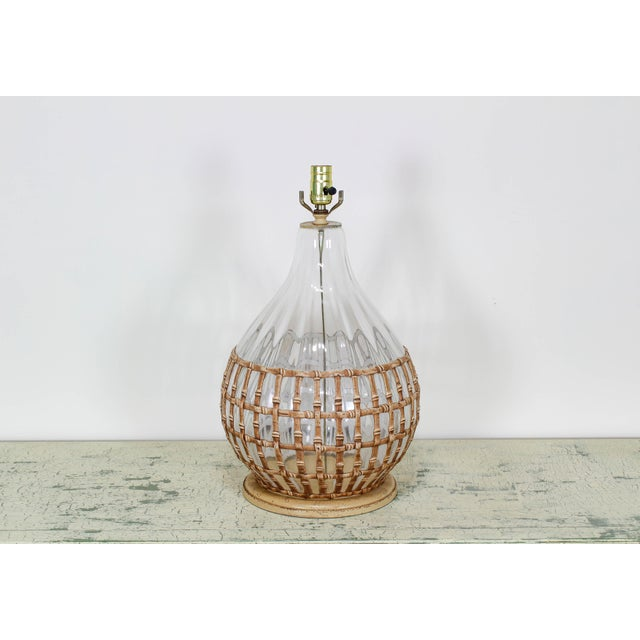 1970s 1970's Glass Table Lamp With Faux Bamboo Motif For Sale - Image 5 of 6