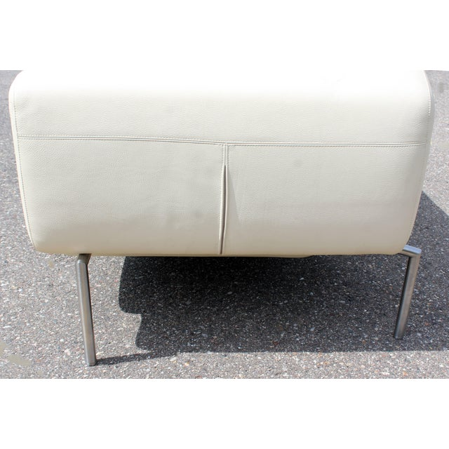 Animal Skin Contemporary Modern White Leather Sofa on Steel Frame B&b Minotti Style Italian For Sale - Image 7 of 9
