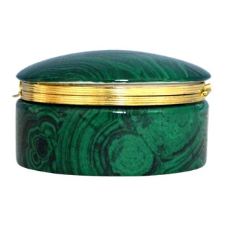 Vintage Frederick Cooper Faux Malachite Porcelain & Brass Lidded Box For Sale