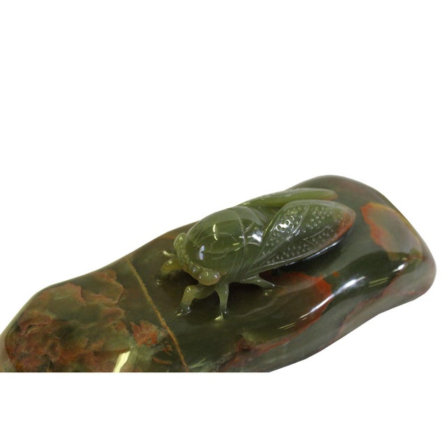 Chinese Oriental Stone Carved Cicada Paperweight Fengshui Display Figure For Sale In San Francisco - Image 6 of 8