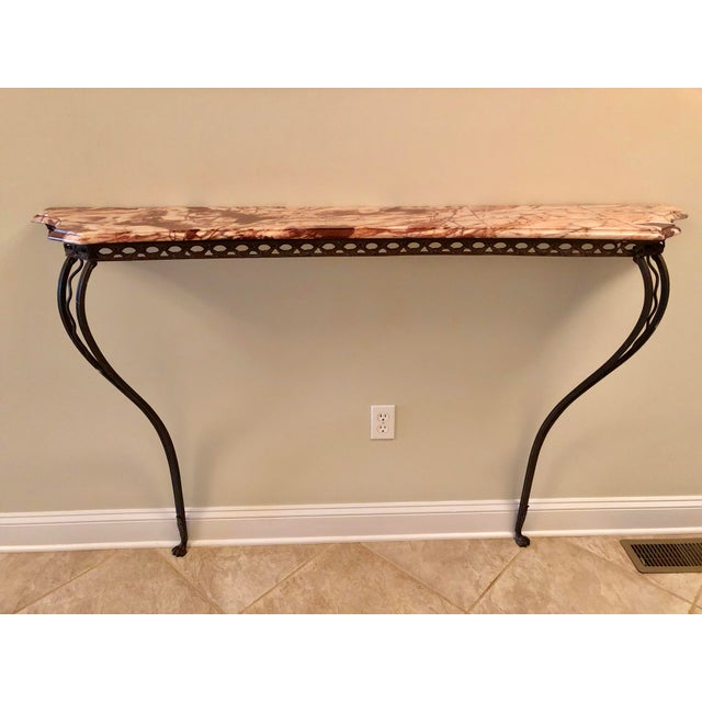 French Wrought Iron Art Deco Marble Top Console For Sale - Image 13 of 13