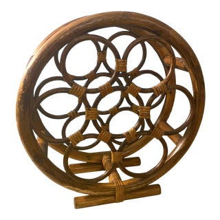 1970s Vintage Bentwood Bamboo and Woven Rattan Wine Rack For Sale