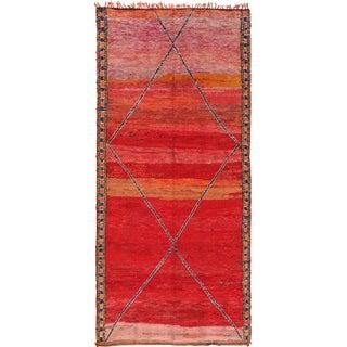 Vintage Moroccan Primitive Rug - 5′8″ × 12′ For Sale