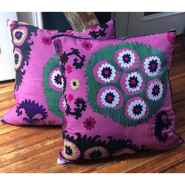 Turkish Suzani Pillows - A Pair For Sale - Image 4 of 4