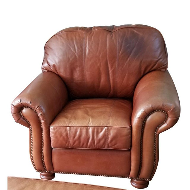 Ralph Lauren Style Leather Cigar Club Chair Distress Firm Last Markdown For Sale In Cleveland - Image 6 of 6