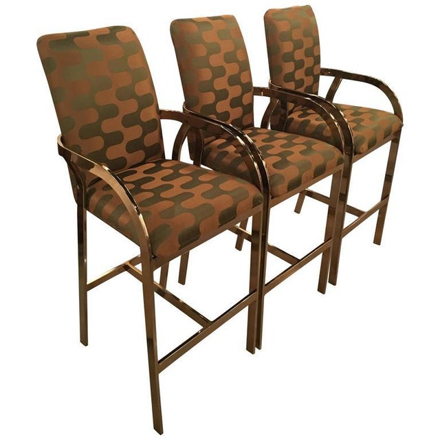 Vintage Hollywood Regency DIA Upholstered Brass Gold Arm Bar Stools - Set of 3 For Sale - Image 11 of 12