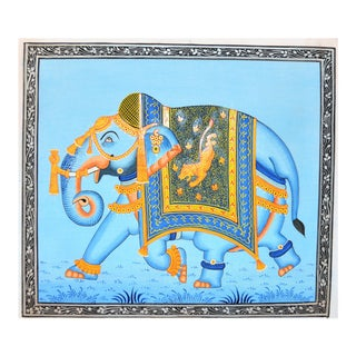 1990s Folk Art Mughal Style Indian Elephant Painting For Sale