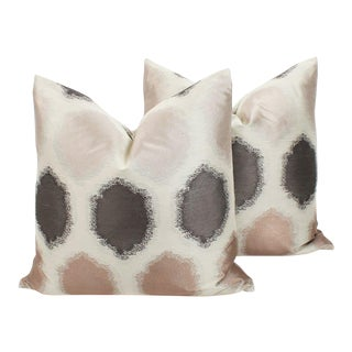 Blush and Grey Geo Sateen Pillows, a Pair For Sale