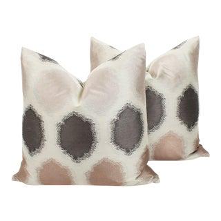Blush and Grey Geo Sateen Pillows, a Pair