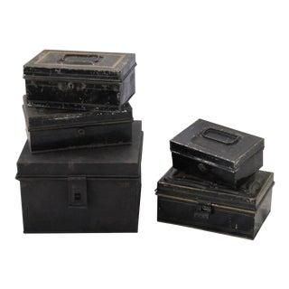 Vintage Black Tole Money/Document Boxes-5 Pieces For Sale