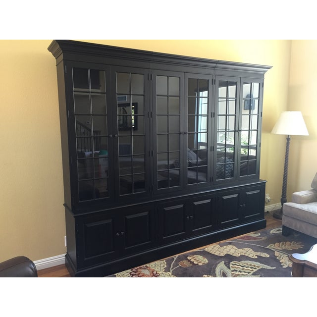 Black Ethan Allen Villa Triple Bookcase - Image 2 of 8