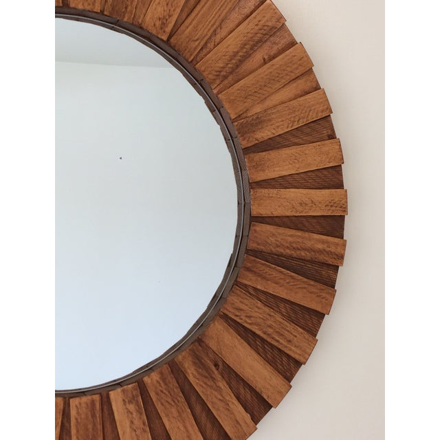 """Round Wall Mirror Teak Color 26"""" For Sale - Image 4 of 11"""