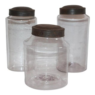 19th Century Hand Blown Canister Jars With Tin Lids Jars - Collection of 3 For Sale