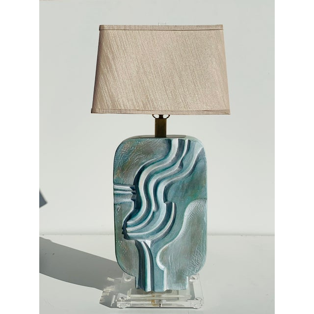 Brutalist 1980s Brutalist Style Plaster Lamps - a Pair For Sale - Image 3 of 12