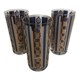 Mid-Century Modern Gold Blue and White Highball Glasses - Set of 3 For Sale