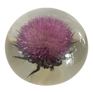 Retro Resin Paperweight With Pink Flower For Sale