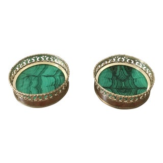 Vintage Italian Faux Malachite Costers- a Pair For Sale