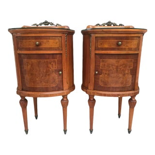 20th Louis XVI Style Marquetry Nightstands With Metal and Mirror Crest - a Pair For Sale
