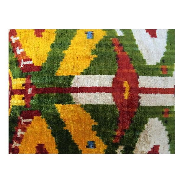 Custom pillow made with velvet in a tribal ikat pattern. Velvet backing with zipper closure.