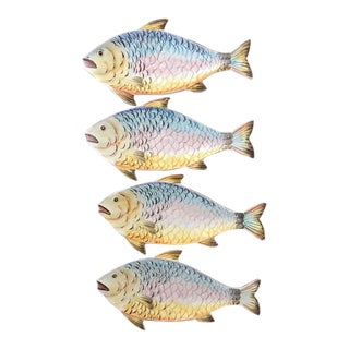 Vintage Italian Majolica Fish Plates- Set of 4 For Sale