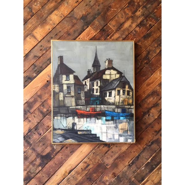 Mid Century Port Scape Oil Painting by M Edward Griff beautiful use of color, port scape motif, signed, framed in gold...