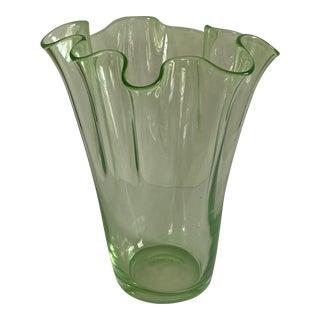Mid-Century Italian Fazzoletto Green Murano Glass Vase For Sale