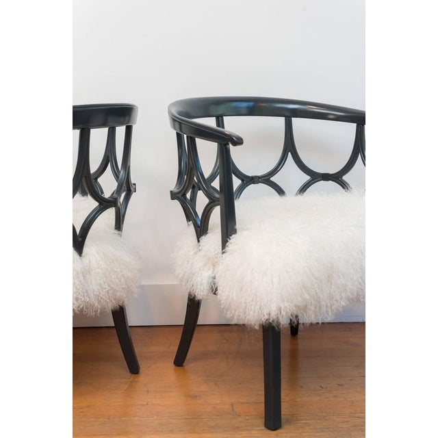 Grey Lacquered Mongolian Sheep Seat Armchairs - a Pair - Image 5 of 9