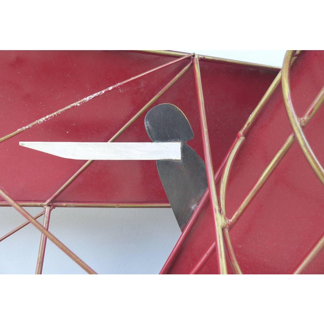 Mid 20th Century Large Three Dimensional Iron and Brass Wall Sculpture of an Airplane in Flight For Sale - Image 5 of 10