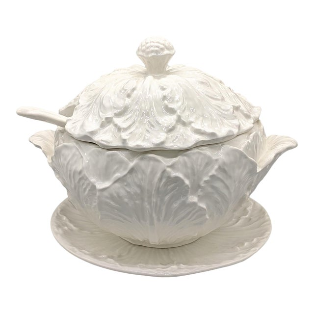 Large Mid-Century White Cabbage Soup Tureen With Ladle and Underplate - 4 Pieces For Sale