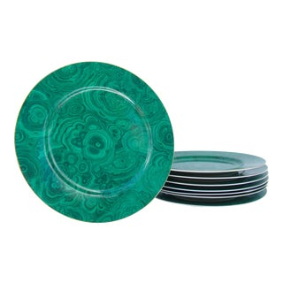 C.1990s Vintage Neiman Marcus Porcelain Malachite Pattern & Gold Rimmed Charger Plates - Set of 8 For Sale