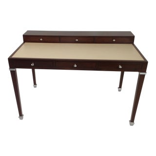 Modern Leather and Walnut Writing Desk For Sale