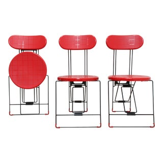 1983 Andries Van Onck Cricket Folding Chairs- Post Modern Italian For Sale