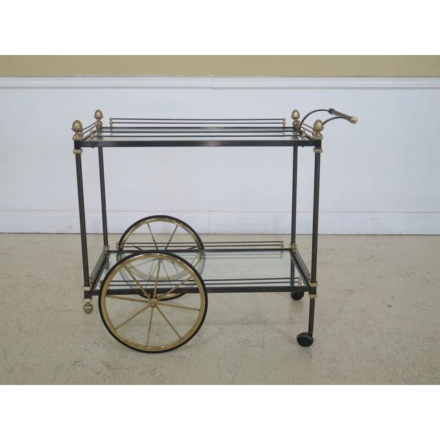 Regency Style Brass & Steel Tea Cart Server For Sale - Image 11 of 11