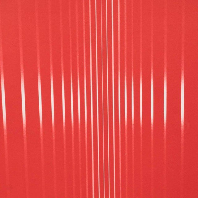 Silver Dynamic Mid-Century Modern Op-Art Signed Serigraph by Ennio Finzi in Vibrant Red For Sale - Image 8 of 10