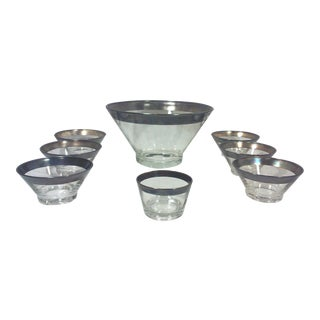 Dorothy Thorpe Silver Rim Salad Bowl Set - 8 Pieces For Sale