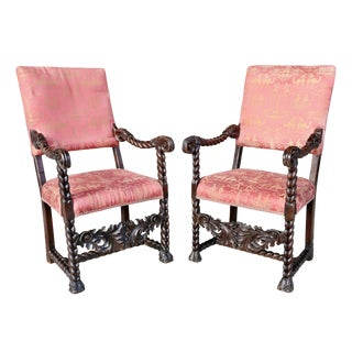 Italian Baroque Walnut Armchairs - a Pair For Sale