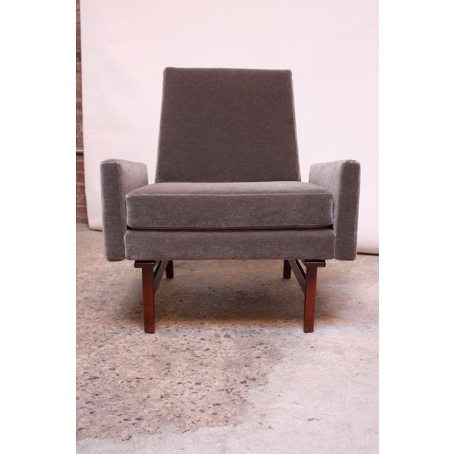 Early Jens Risom Walnut and Mohair Lounge Chair - Image 3 of 11